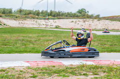 Winner in a karting race Stock Photos