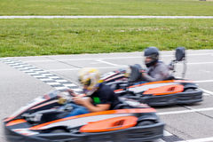 The winner of the karting race. Two karts finishing the karting race in the line Royalty Free Stock Photos