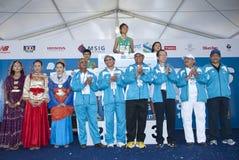 Winner of KL Marathon 2011. Kuala Lumpur, June 26 : Datuk Seri Ahmad Shabery Cheek, Minister of Youth and Sports Malaysia, Senator Tan Sri Dr. Koh Tsu Koon Royalty Free Stock Images