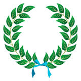 Winner Laurel wreath. Laurel wreath with a sky blue ribbon over white background. Vector file layered for easy manipulation and customisation royalty free illustration