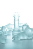 Winner and leadership concept. Glass chess piece king on a white background isolated Royalty Free Stock Images