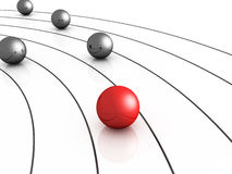 Winner or leadership concept of sphere race Royalty Free Stock Image