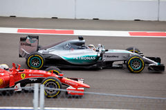 The winner Lewis Hamilton. Formula One. Sochi Russia. Sochi, Russia - October 11, 2015: The winner Lewis Hamilton of Mercedes AMG Petronas F1 team racing at the Royalty Free Stock Images