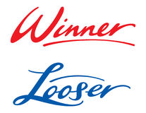 Winner Looser. Colorful inscription of words Winner and Looser Stock Photo