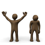 Winner and looser, brown figurines, white background Royalty Free Stock Photos
