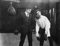 Winner and loser in boxing match Royalty Free Stock Image