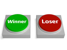 Winner Loser Buttons Show Gambling Or Betting. Winner Loser Buttons Showing Gambling Or Betting Royalty Free Stock Image