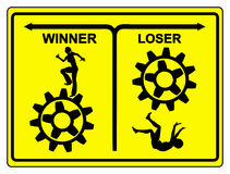 Winner and Loser. The difference between winner and loser, the winner keeps trying, the looser quits Stock Images