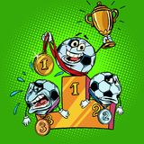 Winner and loser on the podium. First second and third place. Ch. Aracter soccer ball football. Comic cartoon pop art retro illustration vector drawing Stock Photo