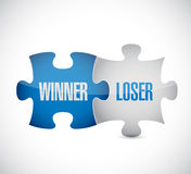 Winner and loser puzzle pieces sign Royalty Free Stock Image