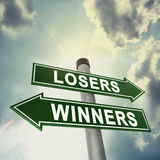 Winner or loser signboard Stock Photo