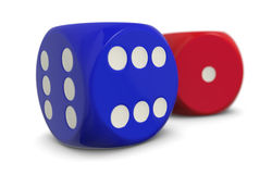 The winner and the loser. Two dices, one with six dots and the other with one dot, concept of winner and loser (3d render Royalty Free Stock Photo