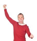 Winner man celebrating something. Isolated on white background Royalty Free Stock Images