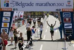 The winner of the marathon royalty free stock photography