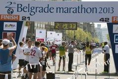 The winner of the marathon for men. BELGRADE-APRIL 21:26th Belgrade Marathon.Finish of marathon for man. Winner is Edvin Kiplagat Kitum (KEN) with time:2 hour Stock Photos