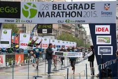 The winner of the marathon for men stock photos