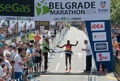 The winner of the marathon for men royalty free stock photo