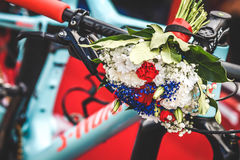 Winner. The marathon mountain bike winner bicycle with flowers Royalty Free Stock Photos