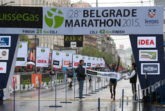 The winner of the marathon for women. BELGRADE-APRIL 18:28th Belgrade Marathon.Finish of marathon forwo man.Winner is Adugna Abebu Gelan (ETH) with time:2 hour royalty free stock photos