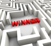 Winner In Maze Showing Puzzle Solution Royalty Free Stock Images