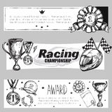 Winner Medal Banner Set. Three horizontal winner medal banner set with racing championship and award descriptions vector illustration Stock Photography