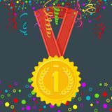 Winner medal first place. Achievement concept. Gold medal for first place. Signs and symbols of success, victory in competition. Business award and sports prize Royalty Free Stock Photography