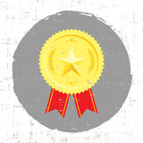 Winner medal with golden star icon with screen texture. Vector Royalty Free Stock Photo