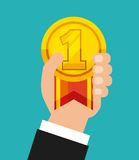 Winner medal isolated icon. Vector illustration design Stock Photos