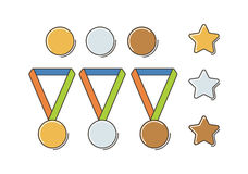 Winner Medal Set. Gold, Silver and Bronze Medal Set. Flat Line Style Stock Photos