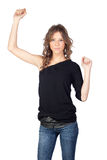 Winner model girl. Isolated on white background Stock Image