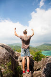 Winner on the mountain top. Sport and active life Royalty Free Stock Images