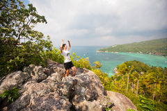 Winner on the mountain top. Sport and active life Royalty Free Stock Image
