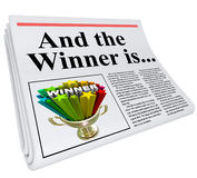 And the Winner Is Newspaper Headline Announcement Trophy Royalty Free Stock Photography