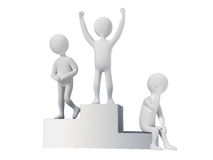 Winner and not. Characters on the podium isolated on a white background Stock Photography