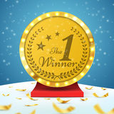 Winner, number one background with confetti isolated. Vector illustration. Stock Image