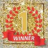 Winner, number one background with red ribbon, olive branch on abstract gold glitter splatter background . Poster or Royalty Free Stock Photo
