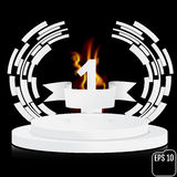 Winner, number one background with white ribbon and fire, techno Royalty Free Stock Image