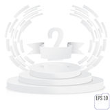 Winner, number one background with white ribbon, techno stylized. Winner, number two background with white ribbon, techno stylized olive branch  on round Royalty Free Stock Photos