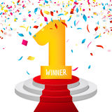 Winner, number one confetti background. Prize award triphy symbol. Victory and success concept. Champion sign Royalty Free Stock Photography