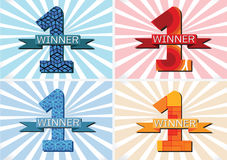 The Winner and Number One First Place sign simbol with ribbons Royalty Free Stock Photo