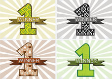 The Winner and Number One First Place sign simbol with ribbons Stock Images