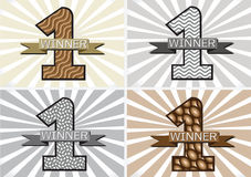 The Winner and Number One First Place sign simbol with ribbons Royalty Free Stock Photos