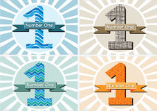 The Winner and Number One First Place sign simbol with ribbons Royalty Free Stock Images