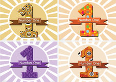 The Winner and Number One First Place sign simbol with ribbons Royalty Free Stock Image