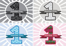 The Winner and Number One First Place sign simbol with ribbons Royalty Free Stock Photography