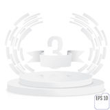 Winner, number three background with white ribbon, techno styliz. Ed olive branch  on round pedestal isolated on white. Paper concept. Poster or brochure Royalty Free Stock Photo