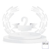 Winner, number two background with white ribbon, techno stylized. Olive branch  on round pedestal isolated on white. Paper concept. Poster or brochure template Stock Photo