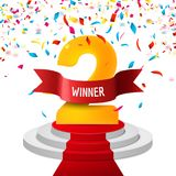 Winner, number two confetti background. Prize award triphy symbol. Victory and success concept. Champion sign.  Stock Photography