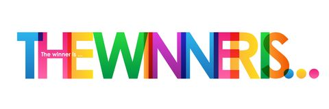 THE WINNER IS colorful overlapping letters vector banner. THE WINNER IS overlapping semi-transparent letters word concept banner.  Rainbow palette.  Vector Royalty Free Stock Photos
