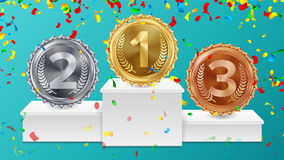 Winner Pedestal With Gold, Silver, Bronze Medals Vector. White Winners Podium. Number One. Red Ribbon, Olive Branch. Winner Pedestal With Gold, Silver, Bronze vector illustration